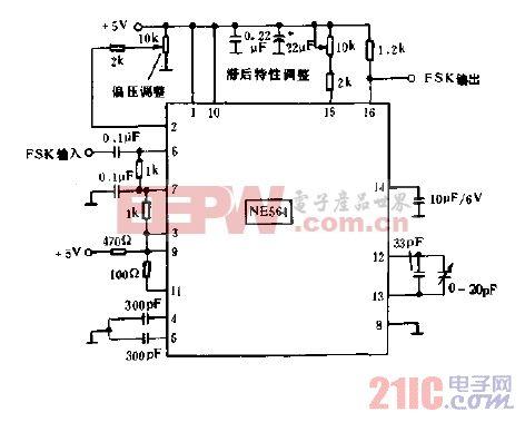 10.8MHZ移频键控(FSK)译码器电路图