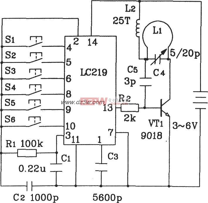LC219构成玩具汽车无线电遥控发射应用电路