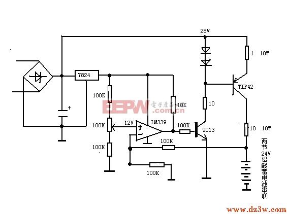 2V铅酸蓄电池串联充电电路图
