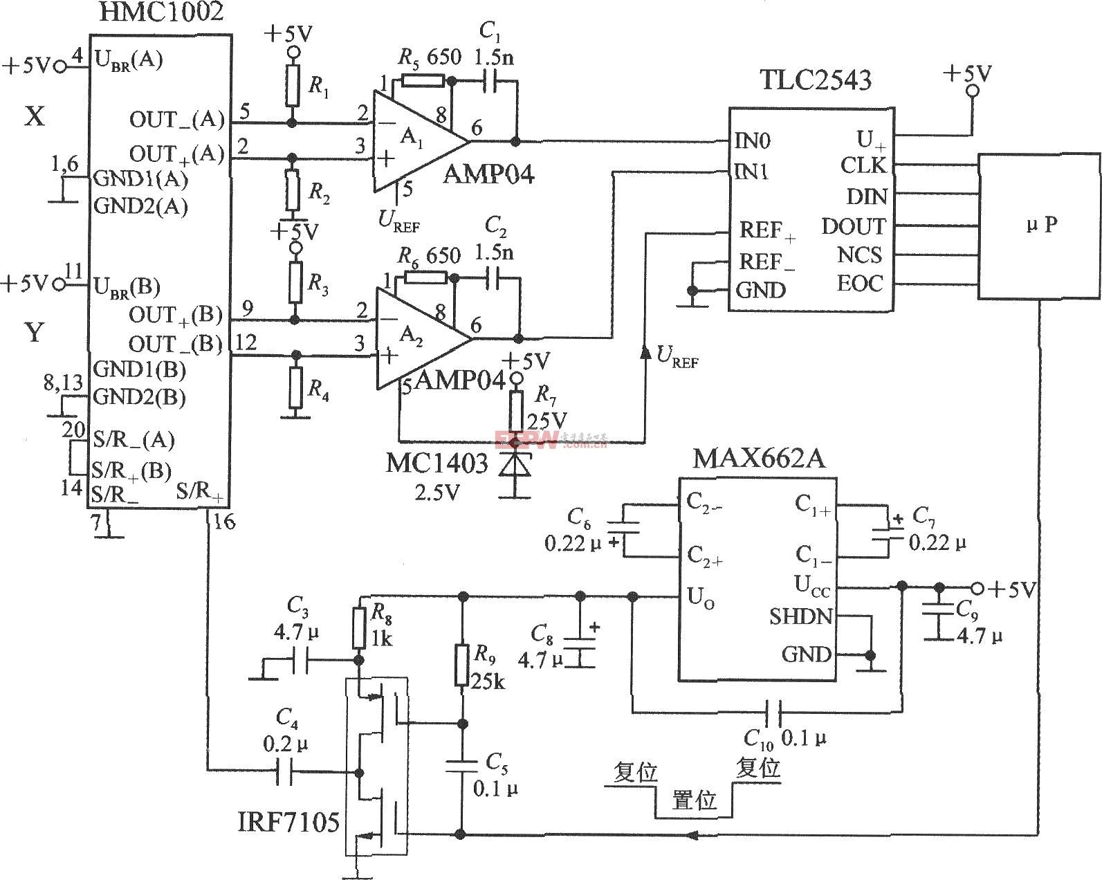 双轴磁场传感器HMC1002应用电路图