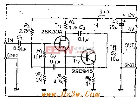 高输入场效应管抗放大器电路
