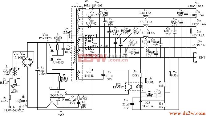 由TOP246Y构成的多路输出式45W开关电源电路