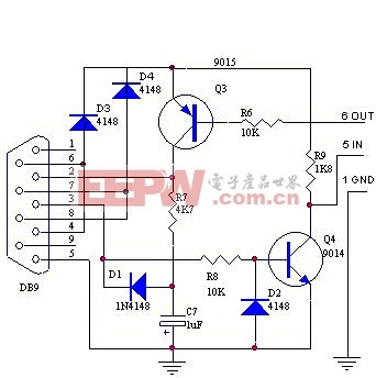 三极管组成的RS232串口接口电路