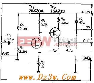 FET输入、输入阻抗为IM欧的AC阻抗变换器电路