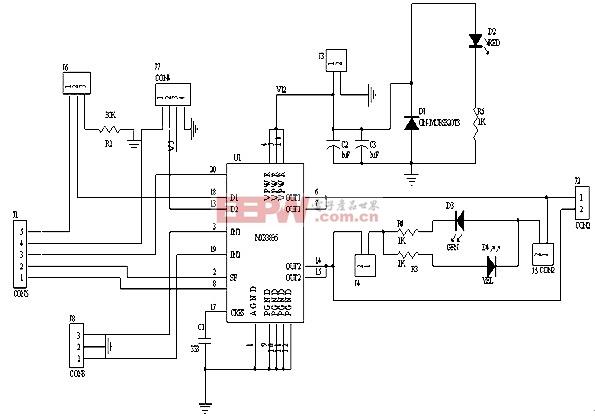 MC33886组成的H桥电机驱动电路图