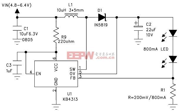 4个干电池驱动两颗800mA LED电路图