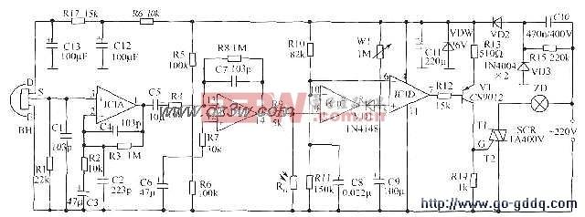"""水塔水位控制电路图 如下图所示,IC2可用各种555时基集成电路。IC3为红外接收解码集成电路CX20106A。IC4可用4N25、4N26、PC817等光电耦合器。红外接收部分亦可购买成品红外接收组件或一体化红外接收头,可方便制作,提高可靠性。VD1、VD2和VD3选用电视遥控器用红外发射、接收二极管。J选用国产新型记忆自锁继电器,该产品外形与普通继电器相同,不同之处在于吸合后不需维持电流,仅在吸合和释放时需一定脉冲驱动功率,然后由机械结构保持""""锁定""""。主要参数:额定电压12V,"""