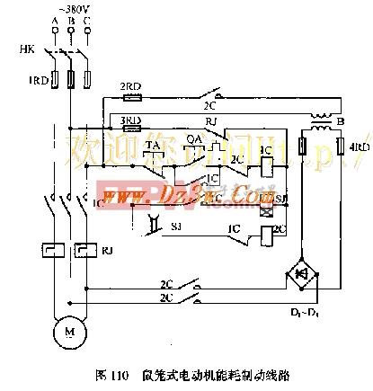 鼠笼式电动机能耗制动电路
