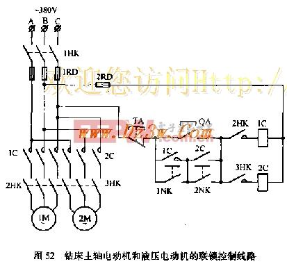 液压电动机和钻床主轴电动机联锁控制电路图