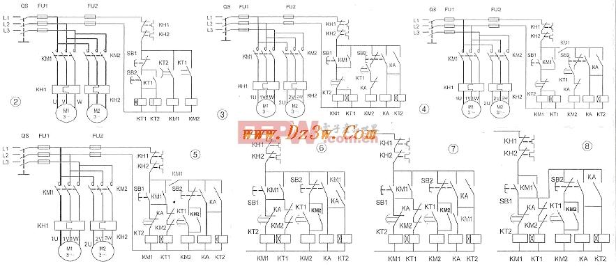两台电动机顺序启动逆序停止电路图