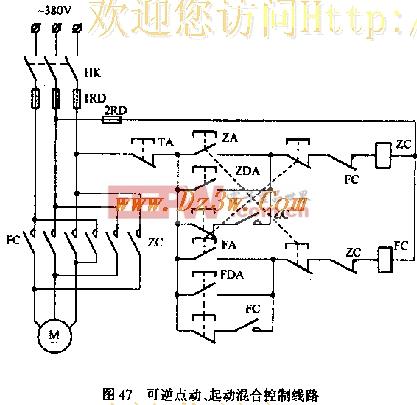 可逆点动、混合控制电机起动机械电路图纸section图片