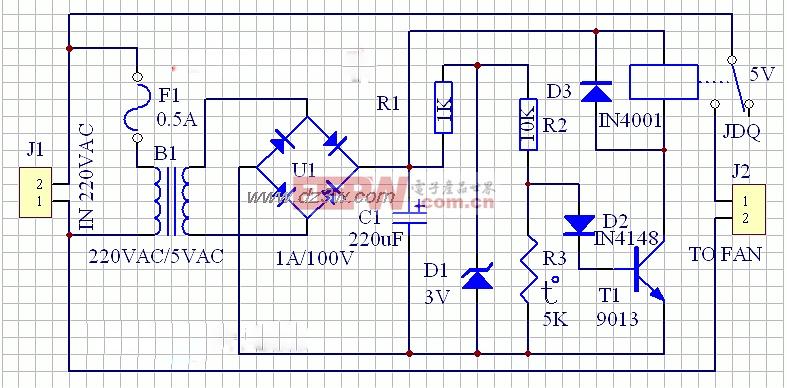 排气扇自动开启电路原理图