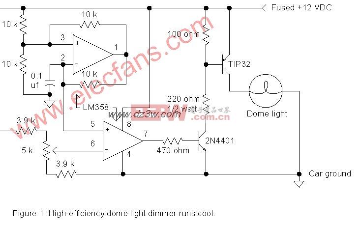 圆顶灯调光器电路与LED或闪光灯电路