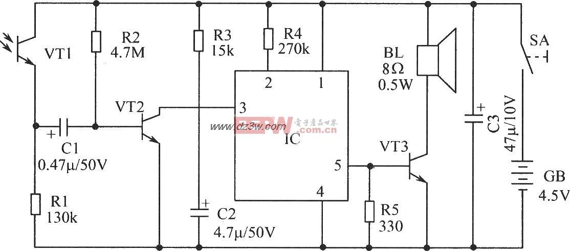 光敏三极管控制的语言电路原理图
