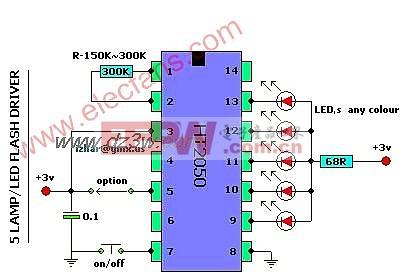 5个灯的LED闪光灯驱动器电路