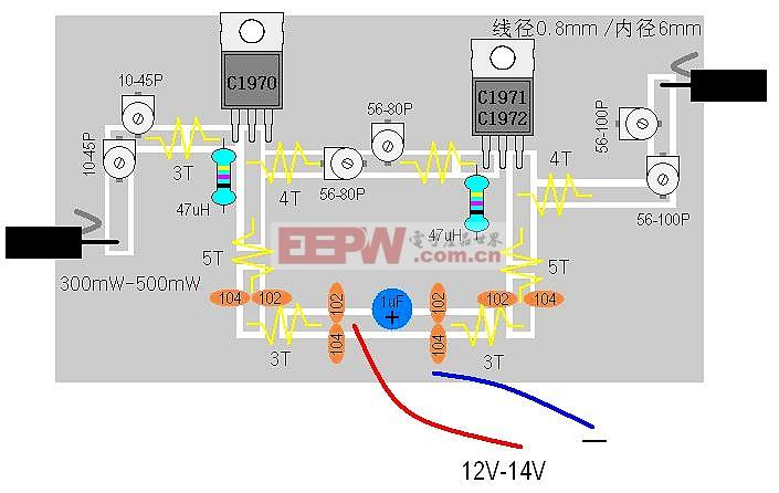 2SC1971,2SC1972组成的18W射频功率中继器电路图