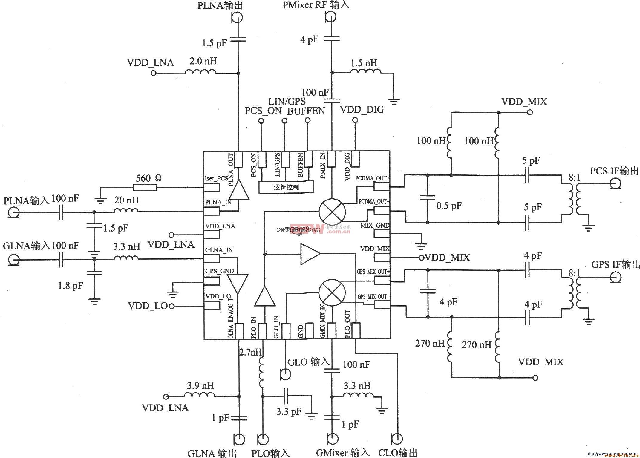KPCS CDMA/GPS双模式接收器TQ5638应用电路
