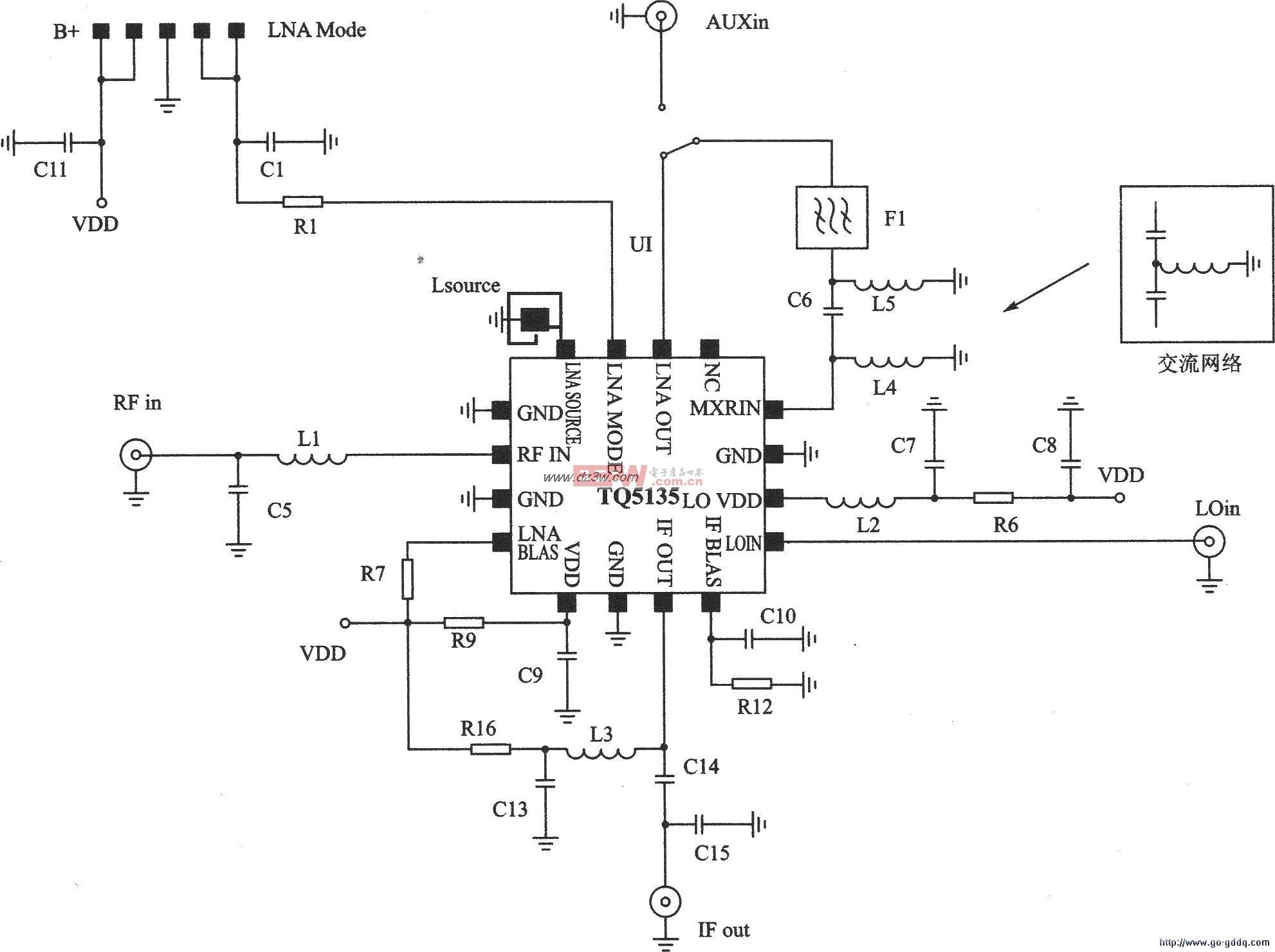 CDMA/AMPS接收器TQ5135应用电路