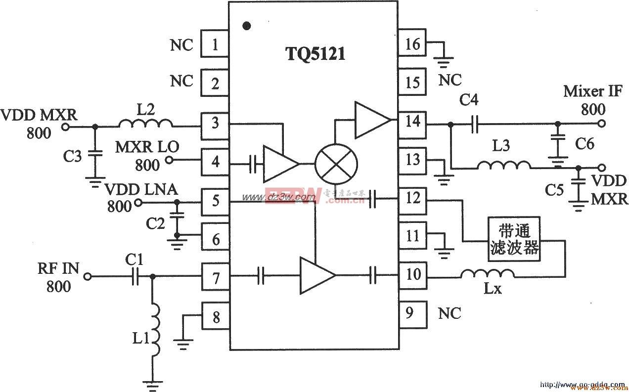 TDMA/AMPS接收器TQ5121特性及应用电路图