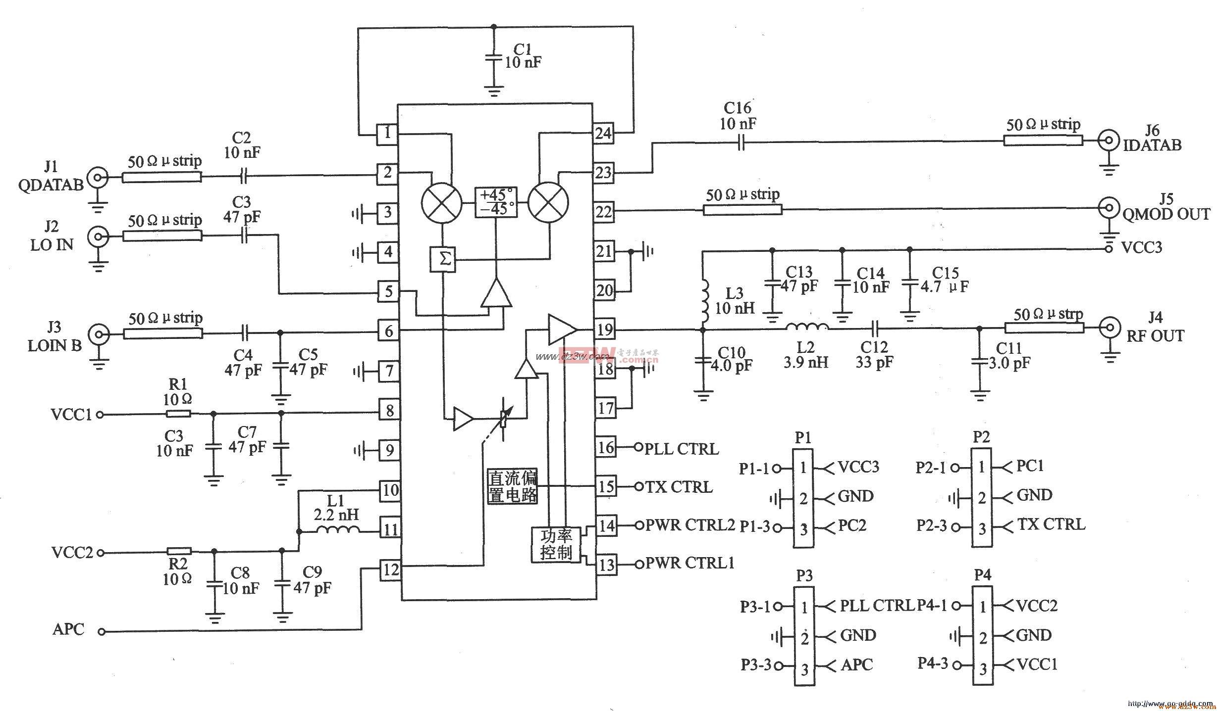 GMSK/QPSK/DQPSK/QAM发射器RF2909应用电路图