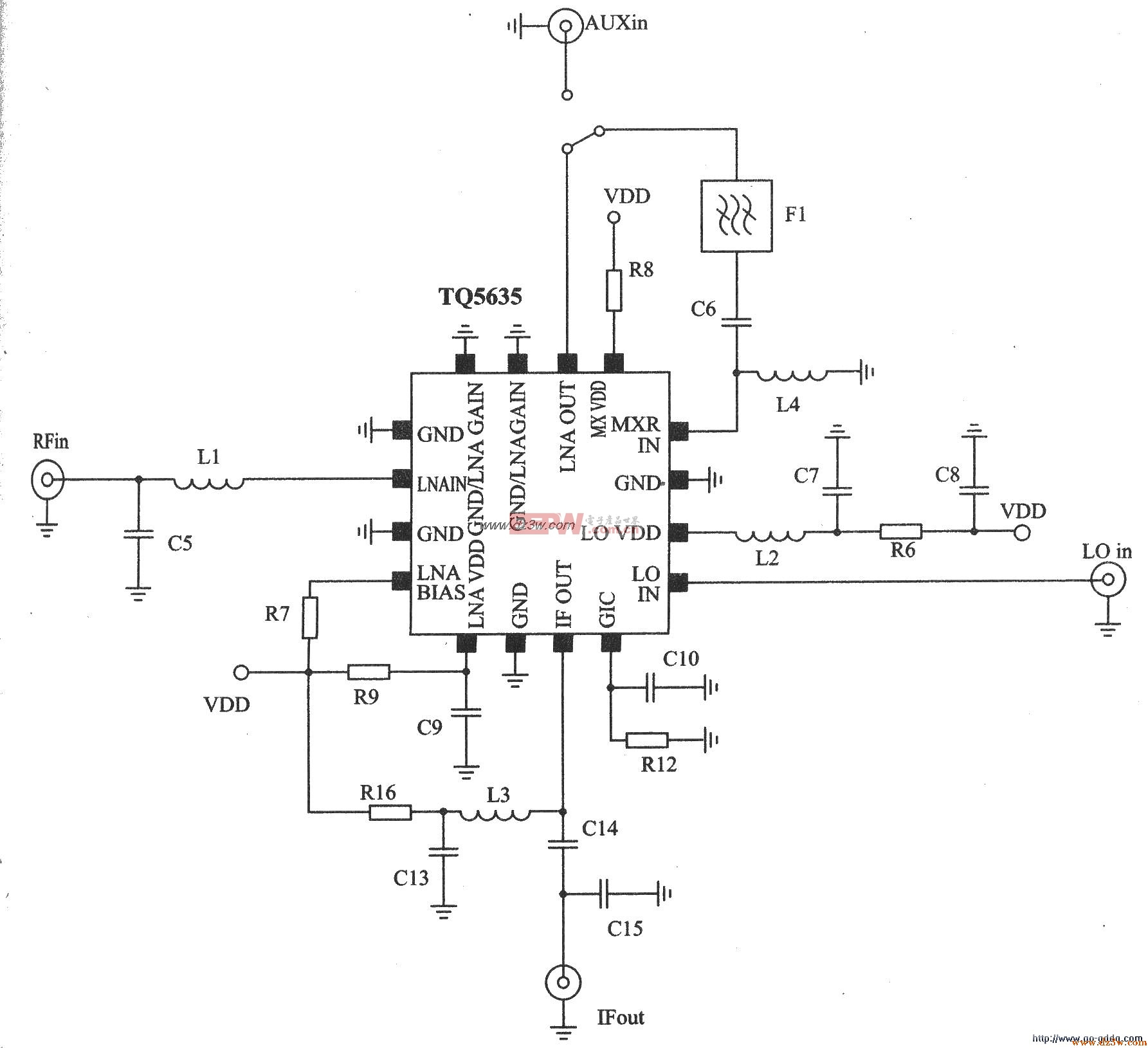 CDMA PCS频段接收器TQ5635应用电路