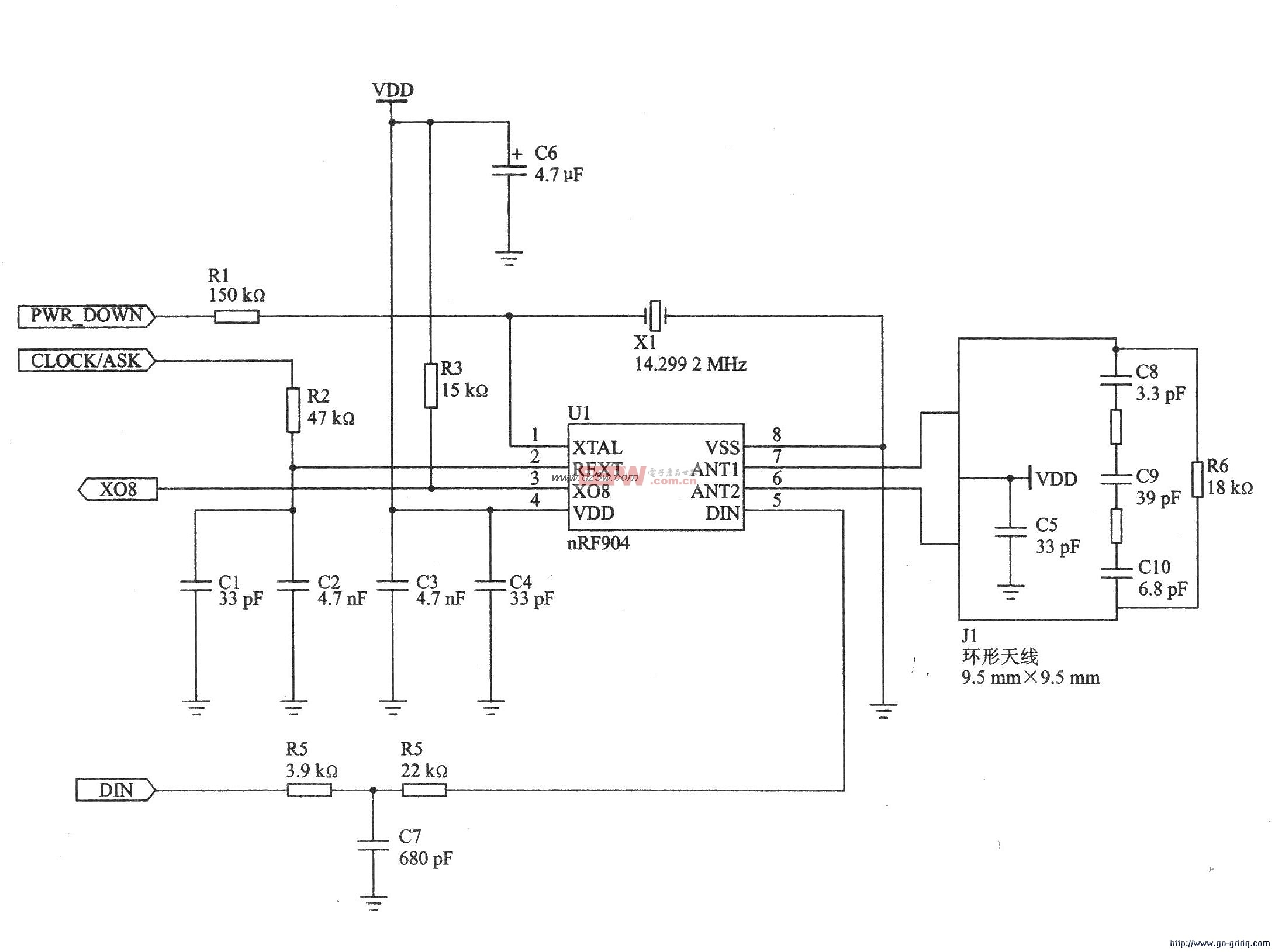 FSK 915MHz发射器nRF904特点及应用电路