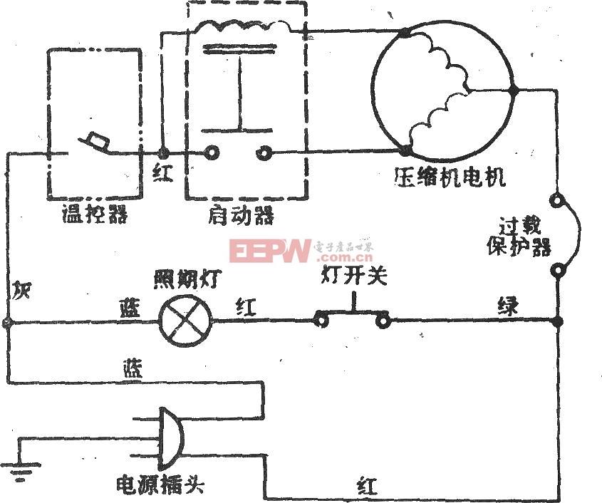 下图是葵花牌BC-100型电冰箱控制板电路