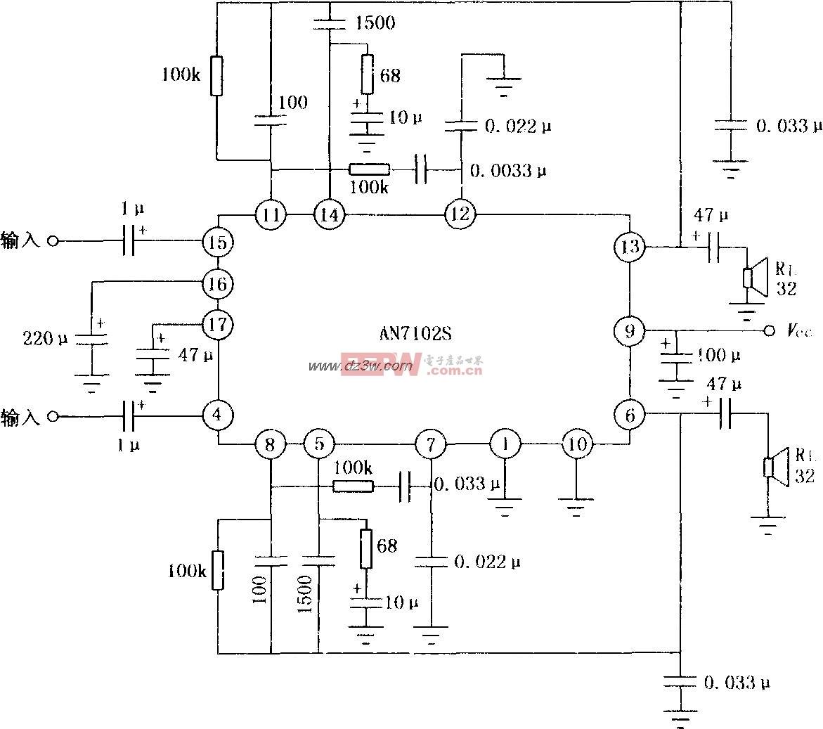 an102s双声道音频功率放大器电路