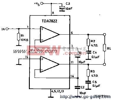 TDA2822功放应用电路图