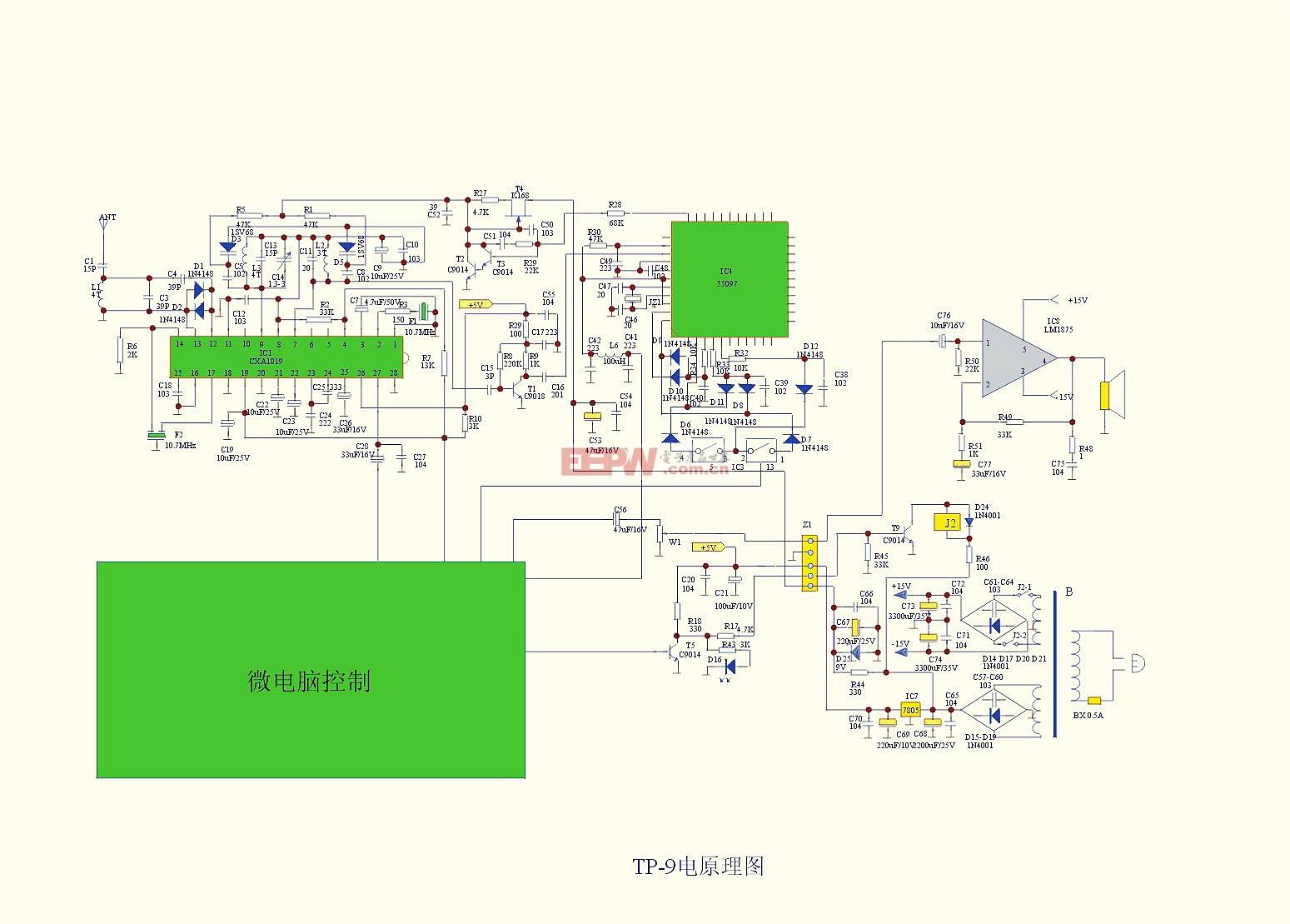 TP-9型10W防雨调频音箱电路图