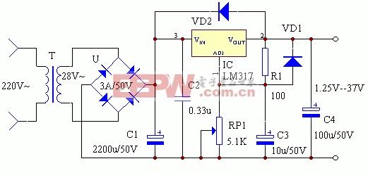 电子小制作:LM317制作的可调稳压电源电路图
