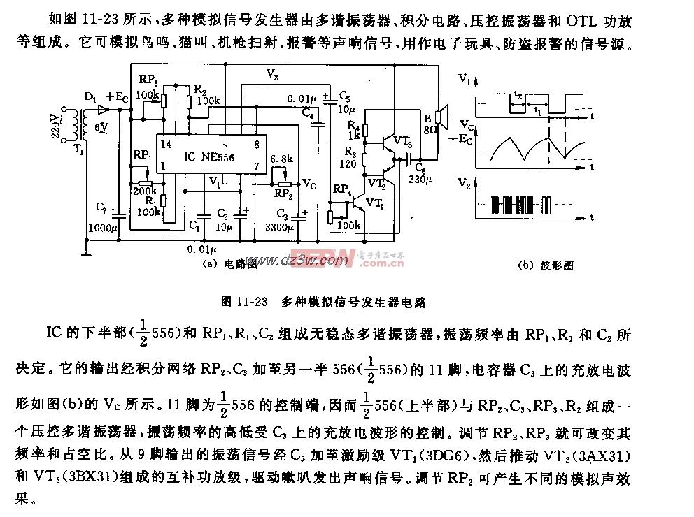 555多种模拟信号发生器电路图
