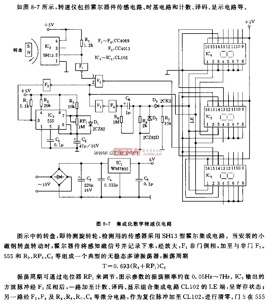555集成化数字转速仪电路图