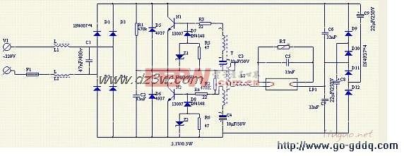 40w节能灯镇流器电路图