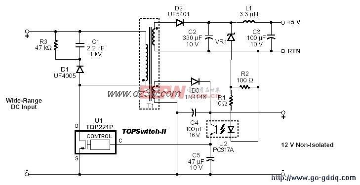 单片开关电源TOP227和TOP221应用电路图解(二)