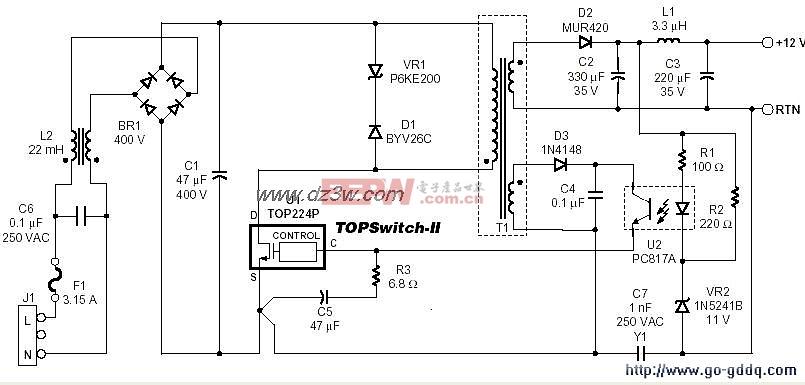 单片开关电源TOP227与TOP221应用电路图解(一)