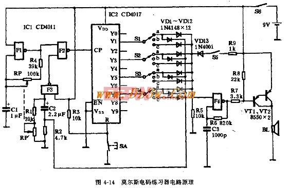 莫尔斯电码练习器电路图
