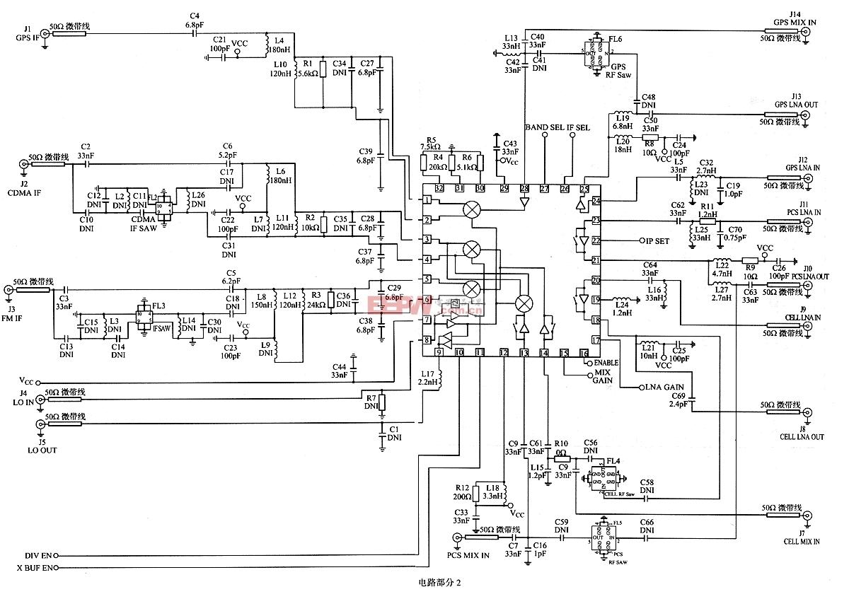 RF2498的GPS接收机下变频器应用电路