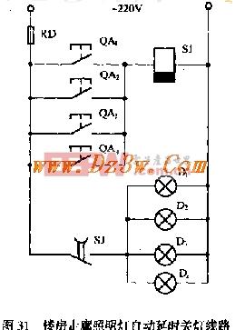 电路 走廊 楼房/电路中的延时继电器选用JS7/44 断电延时继电器,其线圈电压为...