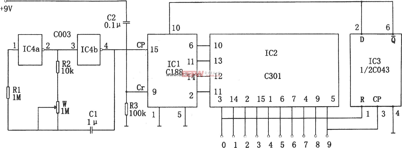 流水 电路/如图所示为可逆式流水彩灯控制电路。