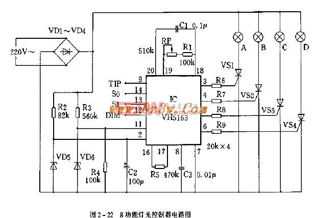 八功能灯光控制器电路图-汽车电子电路图-电子产品