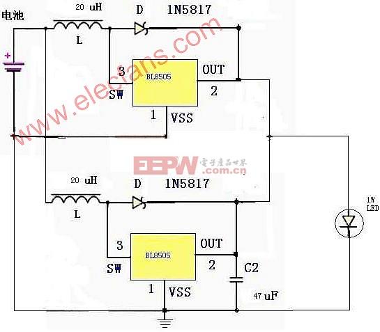 采用BL8505的1W LED手电筒电路图