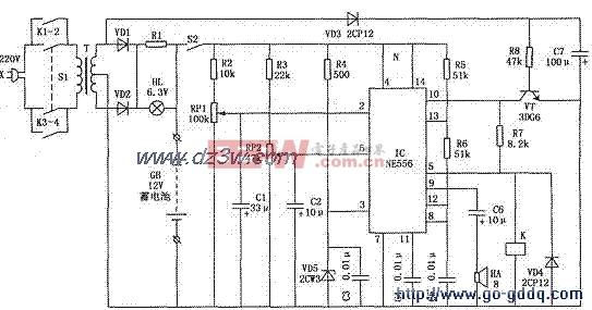 用ne556的发电机启动蓄电池的全自动监控电路