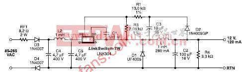 输出为12V、120 mA的非隔离电源电路