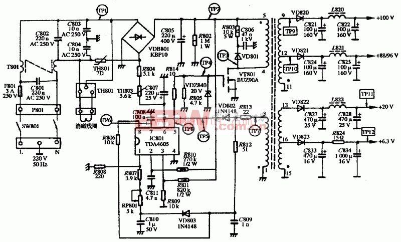 VGA V-1415型显示器电源电路