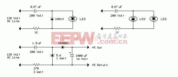 交流线路供电的LED电路