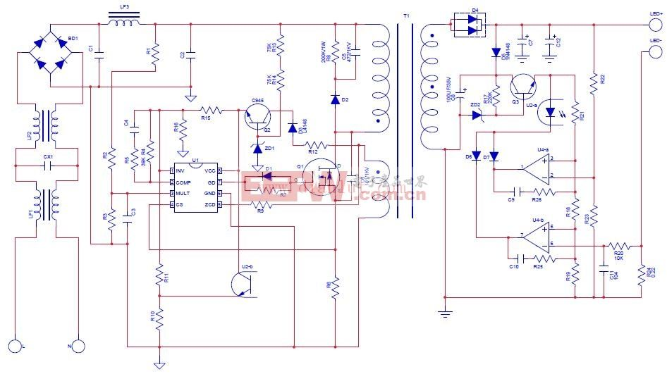 220V电源输入的LED灯驱动电路 www.dianlut.com