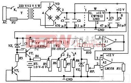 简易电池自动恒流充电电路的总电路