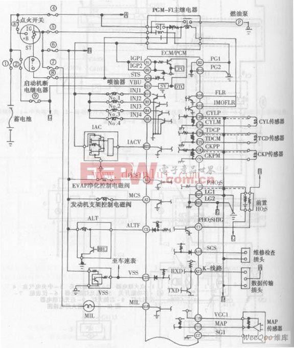 雅阁轿车4缸发动机电控系统电路