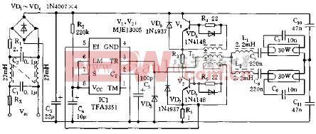 IC TFA3351电子镇流器电路